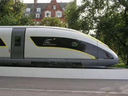 This mock-up of a future Siemens Eurostar train was displayed briefly in Hyde Park