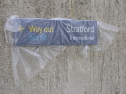 Image of Stratford station sign wrapped in protective plastic